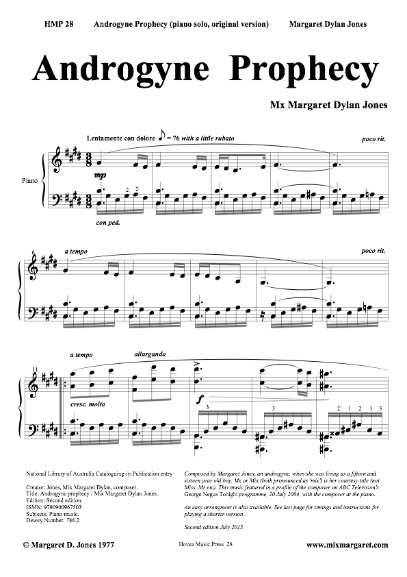 Androgyne Prophecy piano solo by Margaret Jones, 72dpi