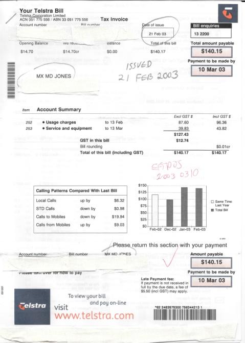 20030221 MX MD JONES Telstra phone bill